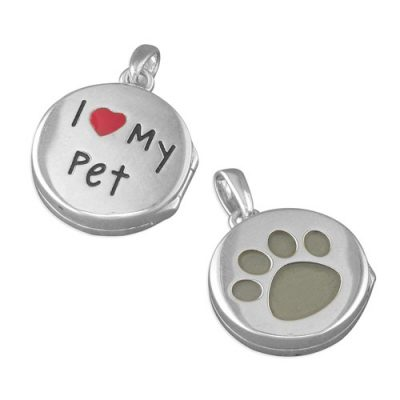 Round silver I love my pet locket