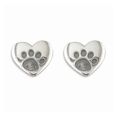 Heart shaped silver dog paw earrings